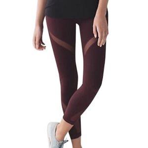 Lululemon Bordeaux Drama 7/8 mesh high leggings